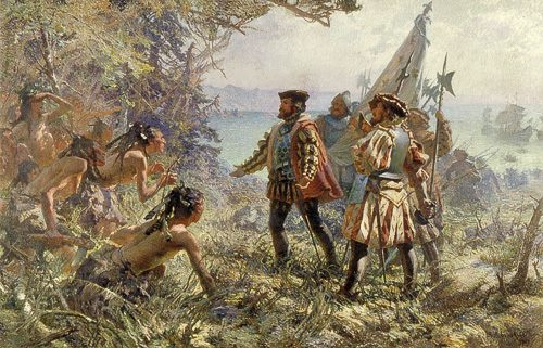 Jacques Cartier met with the indigenous people of Stadacona
